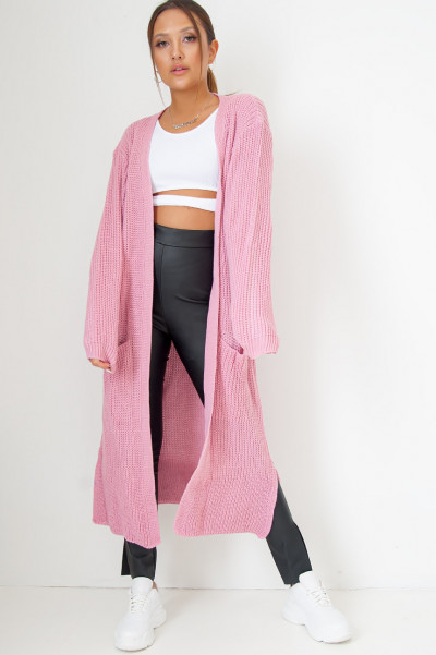 Long Knitted Cardigan Hot Pink
