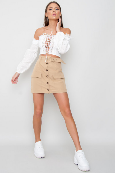 Puff Sleeve Crop Top - Brody White
