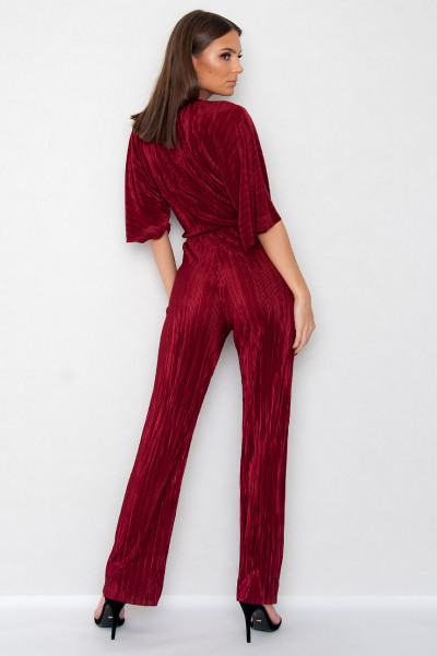 Pleated Jumpsuit - Elle Röd