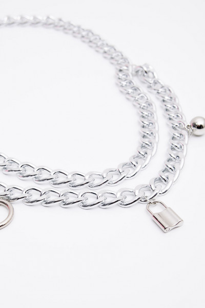 Chunky Chain Belt - Lock Me Silver