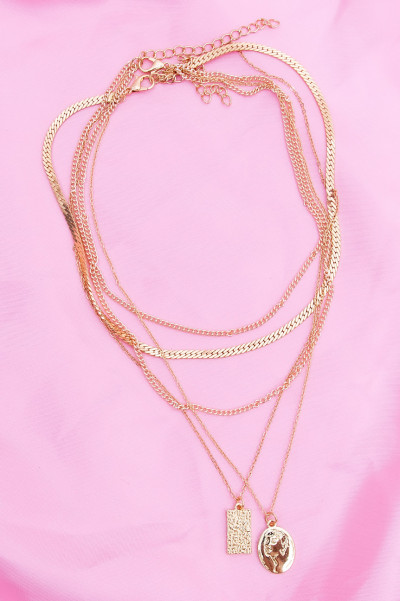 Multi Layer Necklace - Portrait Gold