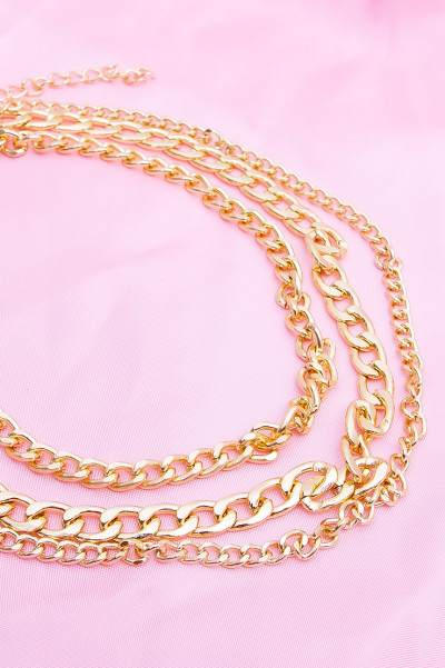 Multi Layer Choker Necklace - Xen Gold