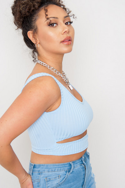 Cut Out Crop Top - Danice Blue