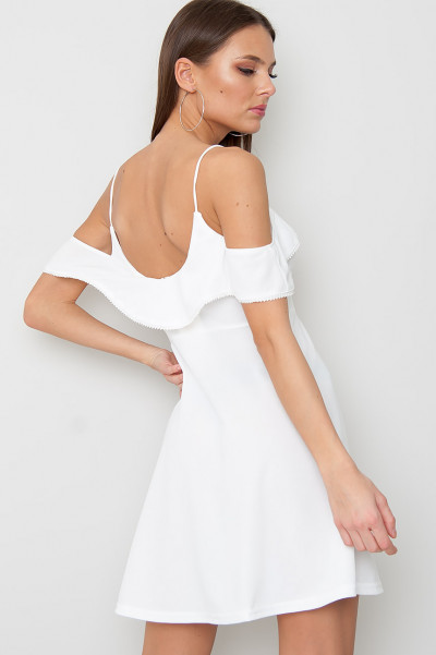 White Off Shoulder Dress - Eline