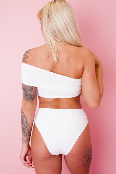 One Shoulder Bikini Top - Playa White