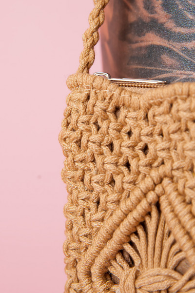Crocheted Beach Bag - Camel