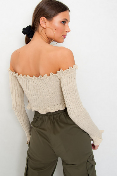 Off Shoulder Knitted Top - Lit Beige