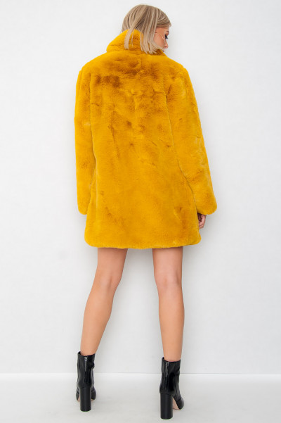 Faux Fur Jacka - Mad Mustard