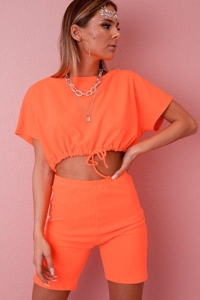 Drawstring Co-Ord Set - Hedda Orange