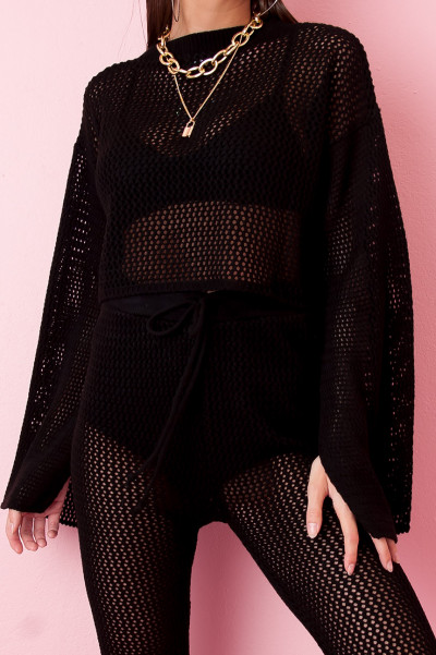 Crochet Knit Set - Thesia Black