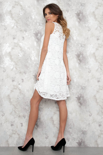White Wide Lace Dress - Sofie