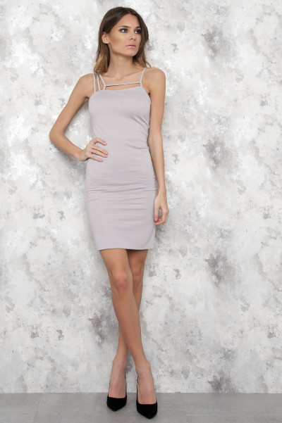 Light Beige Stripe Dress - Bixie