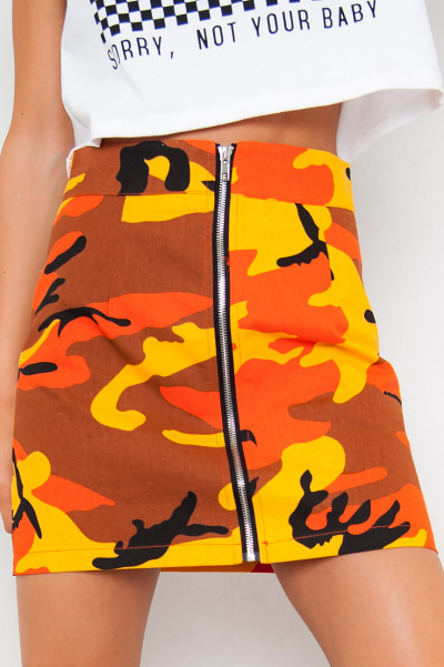 Orange Camo Skirt - Fearless