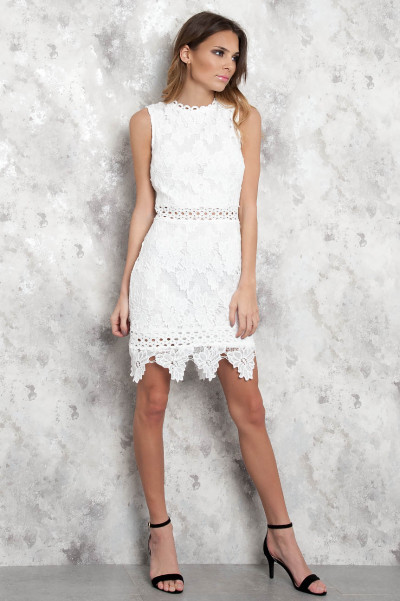 White Luxe Lace Dress - Lizzy
