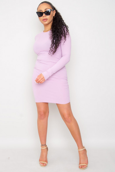 Ribbed Corset Dress Lilac