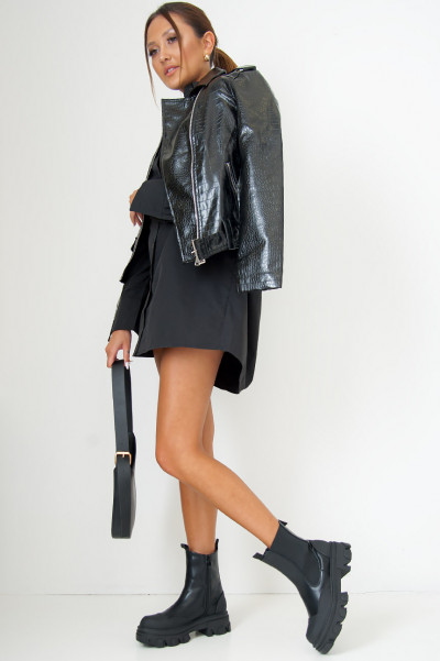 Night Of Illusions Faux Leather Jacket