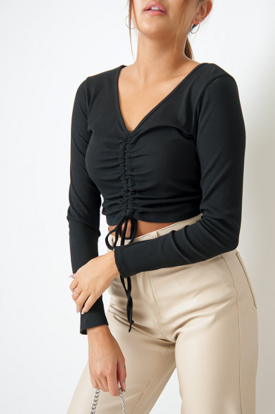 Another Round Drawstring Top Black