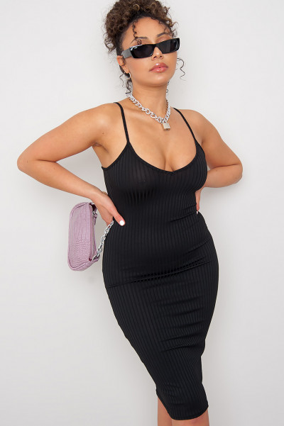 Rib Knit Midi Dress Black
