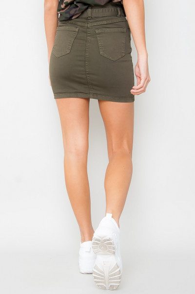 Paperbag Waist Tie Denim Skirt - Khaki