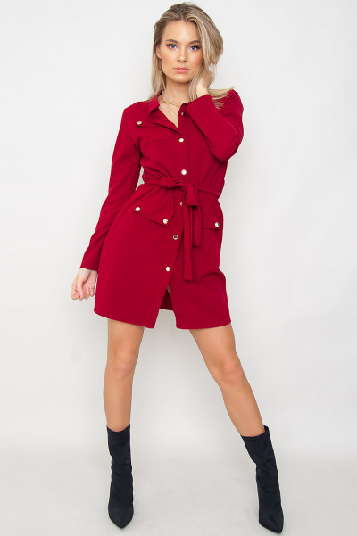 Button Up Shirt Dress - Icona Burgundy