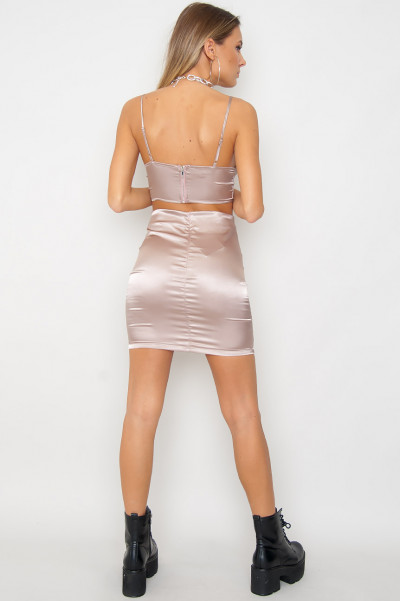 Satin Crop Top & Skirt Co Ord Set - Mirelle