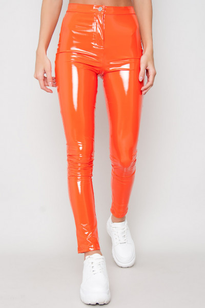 Wet Look Neon Trousers - Babe Orange