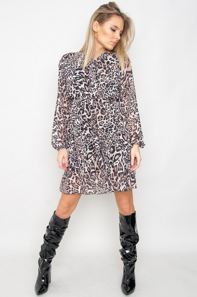 Leo Printed Dress - Zion Brown