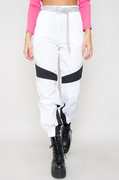 Striped Reflective Pants - White Binx