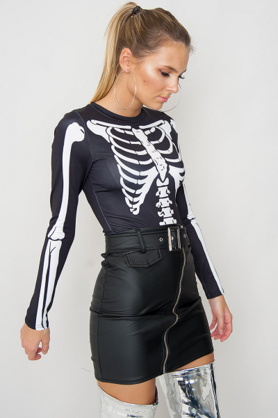 Halloween Skeleton Print Bodysuit - Rox Black