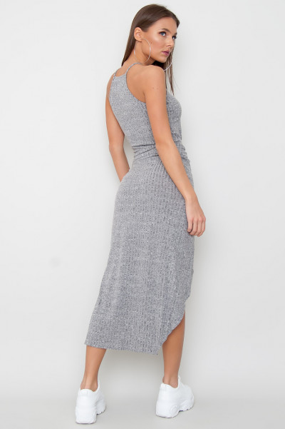 Slit Knot Dress - Suzy Grey
