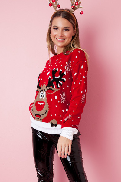 Christmas Sweater - Hello Rudolph Röd