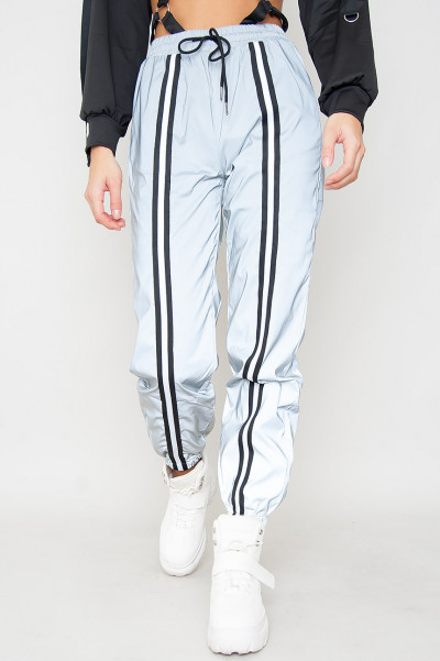 High Waisted Reflective Pants - Grey Reflex