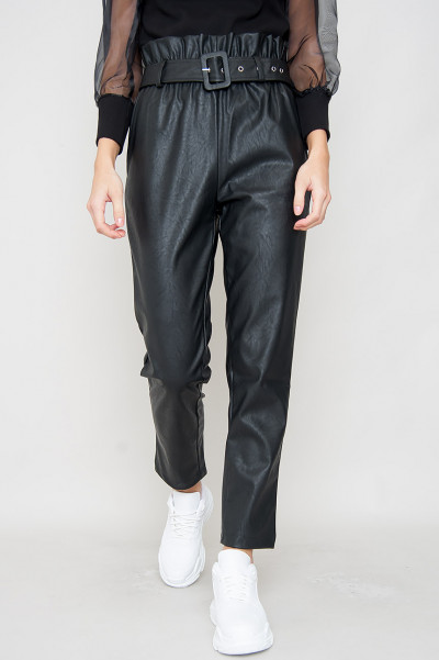Faux Leather Pants - Vic Black