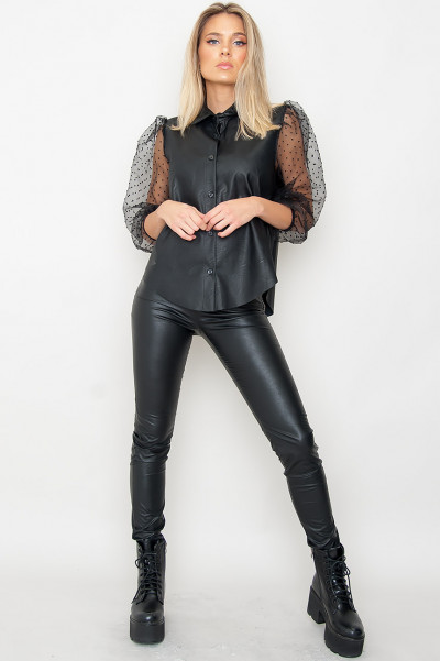 Faux Leather Pants W Zip - Alexiaa