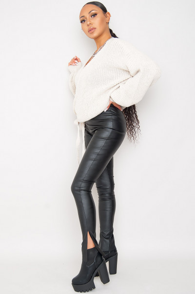 Perfect Way Faux Leather Slits Pants