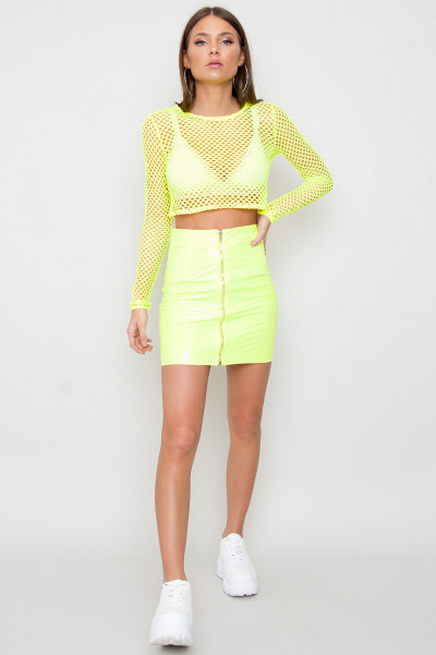 Neongrön Fishnet Crop Top - Rule