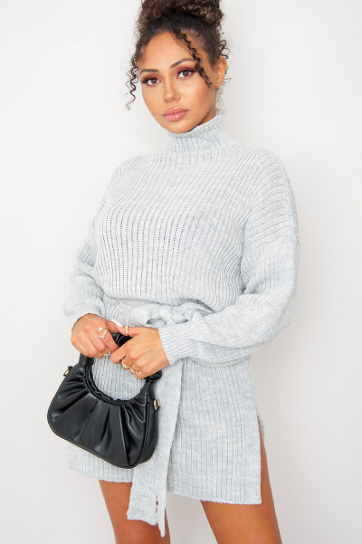 Out Of Ur League Knitted Dress Grey