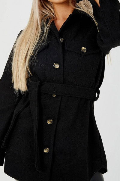 Therefore Oversized Belted Shacket Black