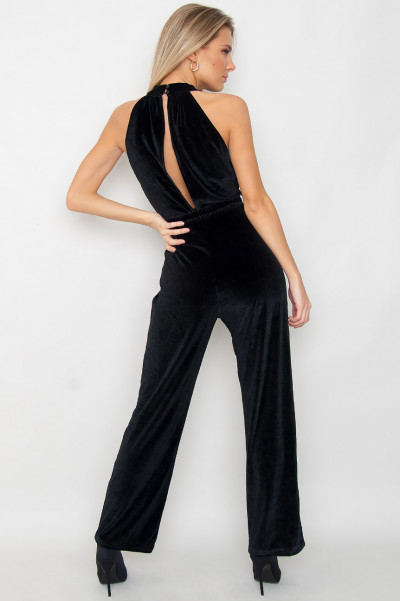 Belted Velvet Jumpsuit - Regina Black