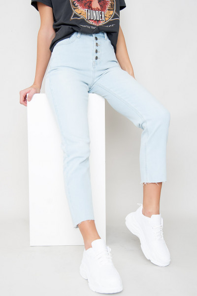 Button Front Mom Jeans - Vienna Blue