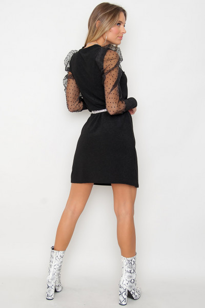 Black Sparkling Mesh Sleeve Dress - Alexi