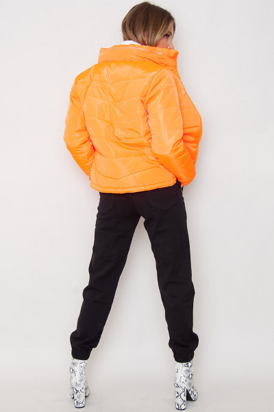 Neon Orange Puffer Jacket - Celia