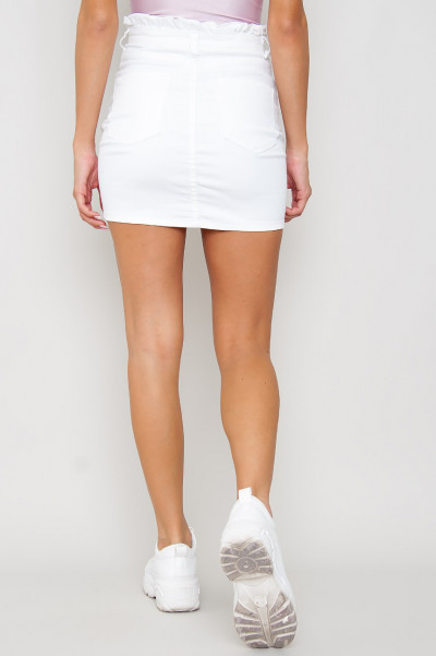 Tight Denim Elastic Skirt - Enni Vit