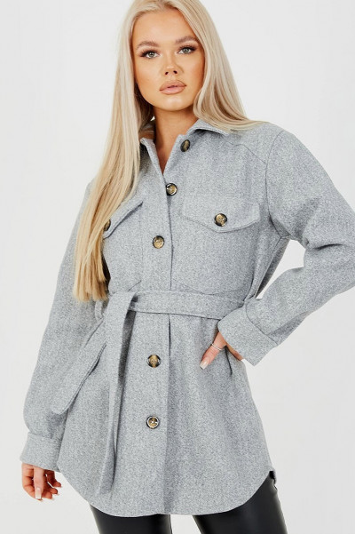 Therefore Oversized Belted Shacket Grey