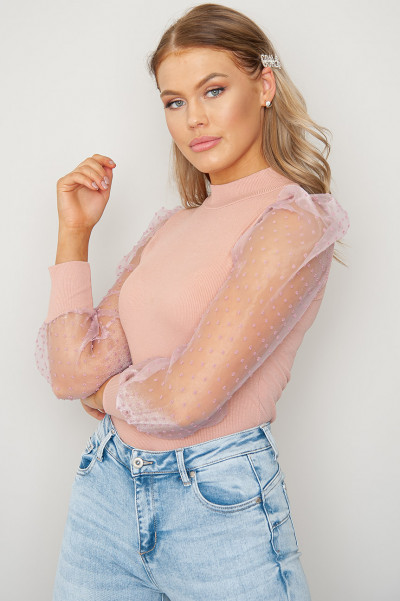 The It Crowd Mesh Sleeve Top Pink