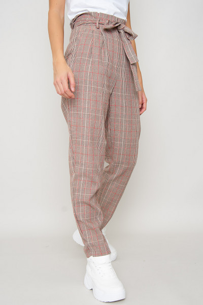 Checkered Paperbag Pants - Elisha
