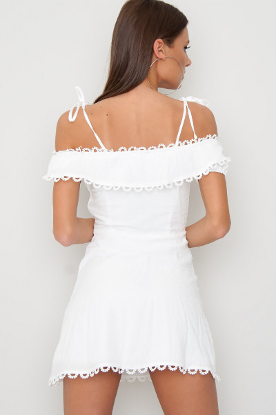 Off Shoulder Dress - Litz White