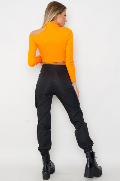 Orange Hollow Out Crop Top - Dawn