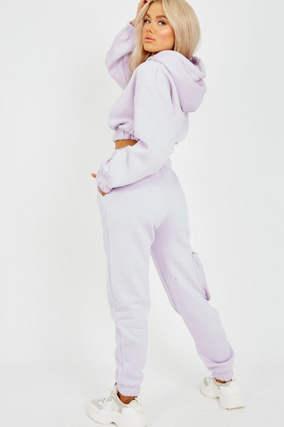 Too Cute Lilac Cropped Hoodie & Jogger