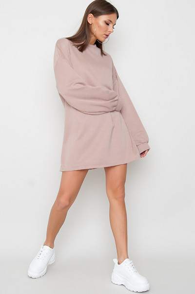 Oversized Sweater Klänning - Pixie Beige